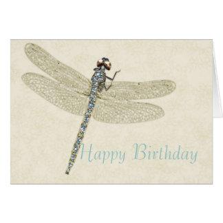 Cartão Bejeweled do feliz aniversario da libélula