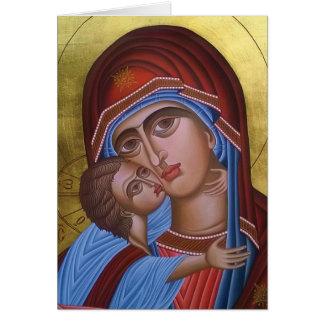 Cartão Belas artes do vintage de Mary e de bebê Jesus