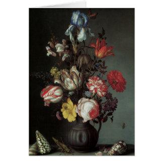 Cartão Belas artes florais com as íris das tulipas dos