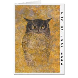 Cartão Belas artes orientais japonesas da coruja de