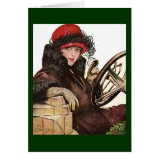 Cartão Belle, uma compra da senhora Natal do vintage