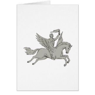 Cartão Bellerophon que monta Pegasus que guardara o