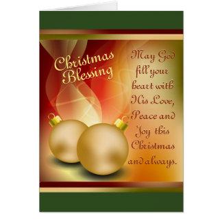 Cartão Bênção do Natal, alegria da paz do amor