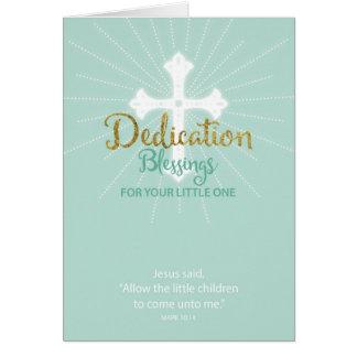Cartão Bênçãos da dedicação para pouco um, verde neutro