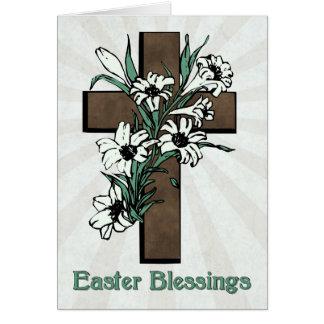 Cartão Bênçãos da páscoa com cruz e lírios com Sunburst