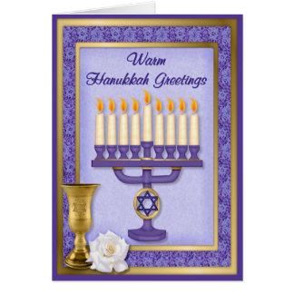 Cartão Bênçãos de Hanukkah Menorah
