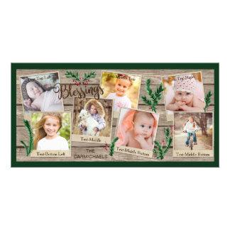 Cartão BÊNÇÃOS de madeira e verdes rústicas, 7 fotos