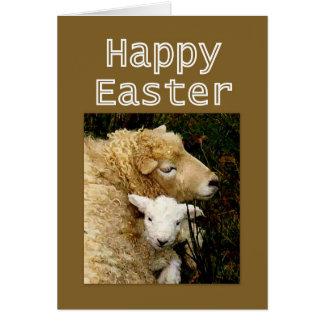 Cartão Bênçãos do felz pascoa - ovelha e cordeiro