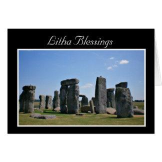 Cartão Bênçãos do solstício de verão com stonehenge Litha