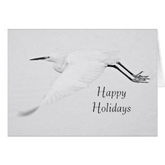 Cartão Benevolência de um Egret boas festas