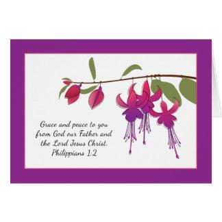Cartão Benevolência e paz a você, flores fúcsia
