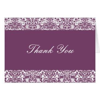 Cartão Beringela e obrigado que branco do damasco você