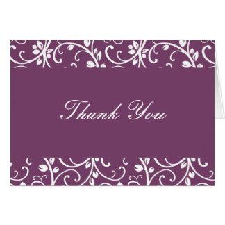 Cartão Beringela e obrigado que floral branco da videira