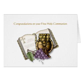 Cartão Bíblia, cálice, uvas, comunhão