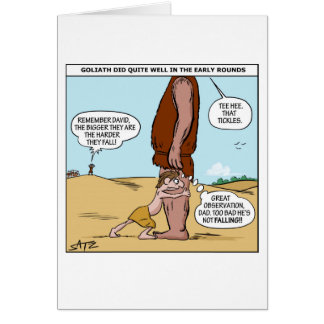 Cartão bíblico engraçado de David e de Goliath
