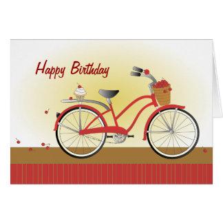 Cartão Bicicleta animador da cereja