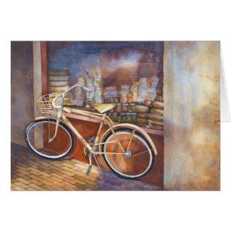 Cartão Bicicleta no aniversário da loja do supermercado