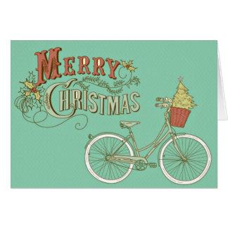 Cartão Bicicleta verde do Feliz Natal do vintage