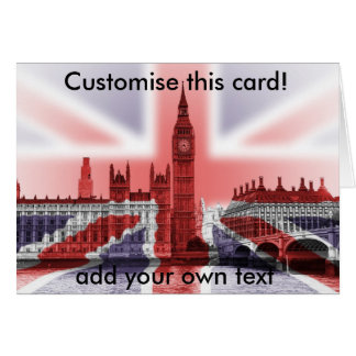Cartão Big Ben e casas do parlamento, Union Jack