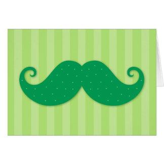 Cartão Bigode na moda verde do hipster