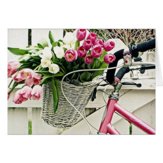 CARTÃO BIKE/FLOWERS-HAPPY COR-DE-ROSA BIRTHDAY=HAPPY MIM