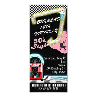 Cartão bilhete da festa de aniversário do tema do estilo