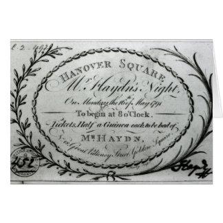 """Cartão Bilhete do """"a Noite Sr. Haydn"""" em Hanover"""