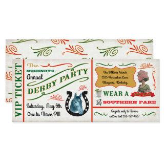 Cartão Bilhete do partido da corrida de cavalos de Derby