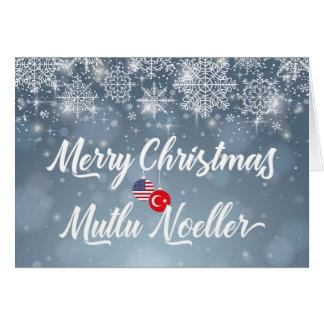 Cartão bilíngüe americano turco do Feliz Natal