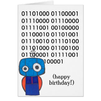 Cartão binário do feliz aniversario