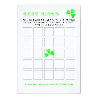 Cartão Bingo afortunado do bebê do trevo do Leprechaun