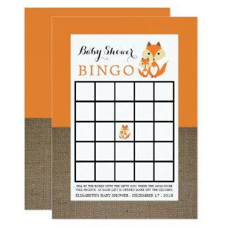 Cartão Bingo alaranjado do chá de fraldas de serapilheira