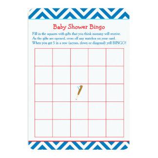 Cartão Bingo azul do chá de fraldas do basebol
