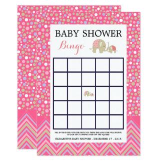 Cartão Bingo boémio cor-de-rosa do chá de fraldas do