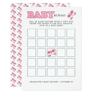 Cartão Bingo bonito branco cor-de-rosa irrisório do bebê