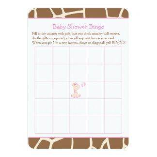 Cartão Bingo bonito do chá de fraldas do rosa da menina