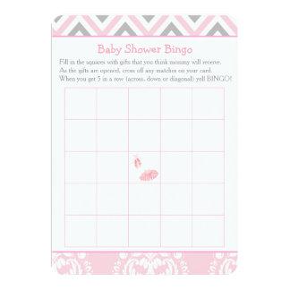Cartão Bingo cor-de-rosa do chá de fraldas da bailarina