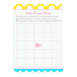 Cartão Bingo do chá de fraldas da menina do rosa da