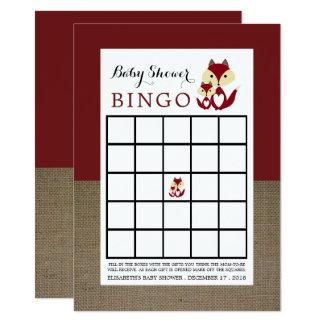Cartão Bingo do chá de fraldas de serapilheira do Fox