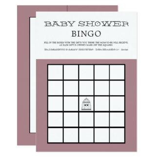 Cartão Bingo do chá de fraldas do Birdcage do coração do
