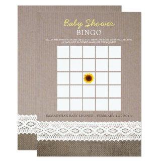 Cartão Bingo do chá de fraldas do laço de serapilheira &