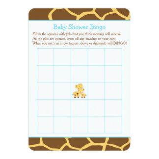 Cartão Bingo do chá de fraldas do menino azul do girafa