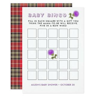 Cartão Bingo escocês do chá de fraldas da flor do Tartan