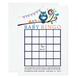 Cartão Bingo lunático do chá de fraldas da coruja
