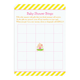 Cartão Bingo tropical do chá de fraldas da menina de Hula