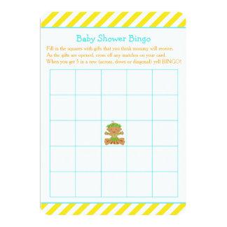 Cartão Bingo tropical do chá de fraldas do menino de Hula