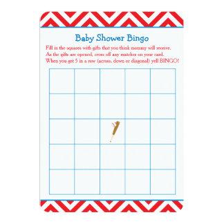 Cartão Bingo vermelho do chá de fraldas do basebol