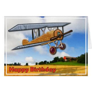 Cartão Biplano de madeira sobre o feliz aniversario dos