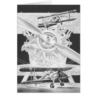 Cartão Biplano de Stearman do vintage - avião velho de