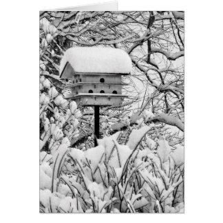Cartão Birdhouse do inverno